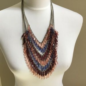 $120 LYDELL NYC pink blue wine Statement necklace